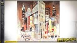 Duo de tableaux sur toiles, peints à la main, en 120 x 60 cm : thème New-York