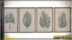 Série de 4 tableaux 65 x 40 cm : feuilles d'arbres exotiques en métal argenté