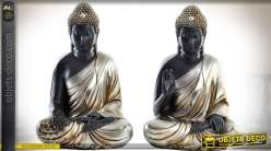 Série de 2 statuettes de bouddhas noir et argent 30 cm