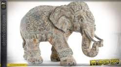 Statuette éléphant indien imitation pierre vieillie 54 cm
