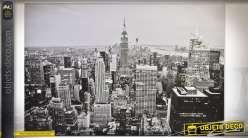 Tableau rétro noir et blanc et paillettes sur le thème de New-York 150 x 100 cm