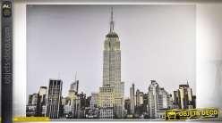 Peinture sur toile thème New-York avec finition paillettes dorées 150 x 100 cm