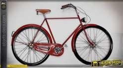 Décoration murale en métal et en relief : bicyclette rétro coloris rouge 98 cm