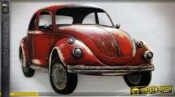 Décoration murale en métal rétro Coccinelle VW rouge 80 x 51 cm