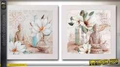 Duo de tableau sur toile en 60 x 60 : scènes zen et bouddhas