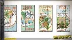 Série de 4 panneaux muraux en bois de style rétro sur le thème du surf