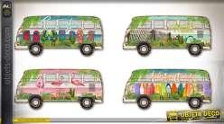 Série de 4 déco murales Combi VW en bois à découpes 40 cm
