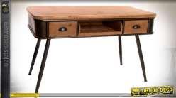 Bureau en bois et métal de style vintage avec piètement en compas
