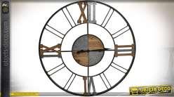 Grande horloge de style rétro et industriel en bois et métal Ø 110 cm