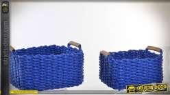 Ensemble de deux paniers bleus en fibre et jute tressée 39 cm