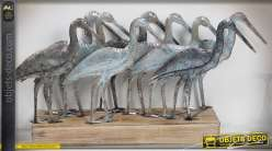 Décoration en métal sur socle en bois : groupe de mouettes, finition gris bleuté