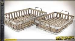 Jeu de deux plateaux en lames bambou croisées aspect bois veilli 56,5 x 39 cm