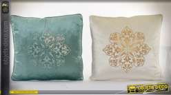 Coussins décoratifs complets style indien coloris vert et crème 45 x 45 cm