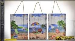 Série de 3 tableaux suspendus sur le thème de la plage