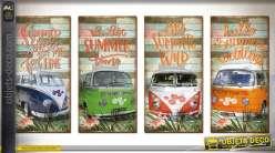 Série de 4 tableaux en bois motifs rétro Combi VW