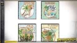 Série de 4 tableaux sur le thème du surf et des îles