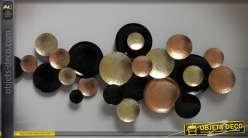 Grande décoration murale abstrait cercles en métal doré, noir et cuivré 174 cm