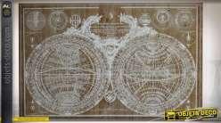 Mappemonde antique sur tableau en bois vieilli déco style rétro et indus 120 cm