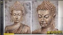 Série de 2 tableaux sur toiles : buste et tête de bouddha aspect cuivré 100 x 80 cm