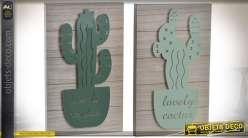 Duo de décorations murales bois et métal avec éclairage LED motifs cactus 40 cm