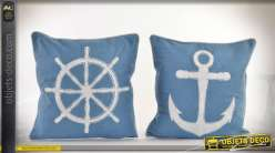 Duo de coussins coton et polyester thème de la marine et des bateaux