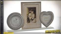 Cadre photos à poser en bois, de style romantique et rétro 43,5 cm