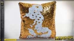 Coussin doré et blanc à paillettes réversibles finition métallisée 40 x 40 cm