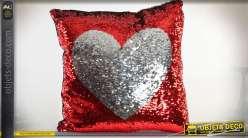 Coussin complet rouge et argent à paillettes réversibles motif coeur 40 x 40 cm