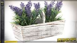 Bac à fleurs en bois patine blance vieillie avec plants de lavande artificielle
