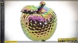 Pomme en grès finition métal doré brillant à reflets iridescents 12,5 cm