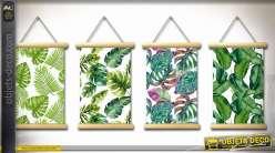 Série de 4 toiles suspendues, motifs feuillages exotiques 65 x 42 cm
