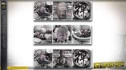 Série de 3 tableaux sur toile en noir et blanc thème bouddhas et zen 90 cm