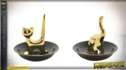 Duo de porte-bijoux soucoupes et animaux en porcelaine noir et or