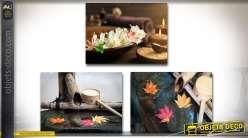 Série de 3 tableaux sur toile esprit zen 40 x 30 cm sur châssis bois