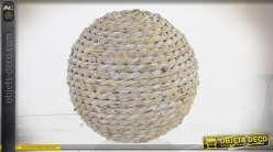 Six boules décoratives en fibre tressée aspect cordage vieilli Ø 10 cm