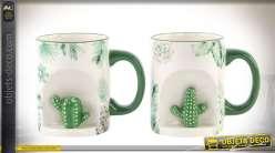 Série de 2 mugs originaux avec niches à cactus latérales, déco esprit tropical