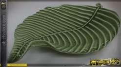 Plateau vide-poche en porcelaine, déco centre de table, grande feuille verte