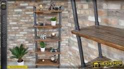 Bibliothèque en bois et métal style ancienne plomberie, esprit industriel