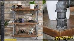 Meuble d'appoint en bois et métal style industriel, esprit ancienne plomberie