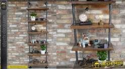 Bibliothèque en bois et métal style anciennes canalisations indus 198cm