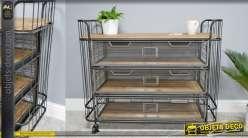 Desserte en bois et métal de style industriel, 3 tiroirs de rangements