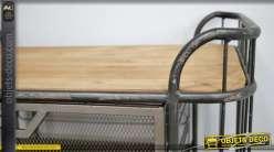 Desserte en bois et métal de style industriel, 2 tiroirs de rangements