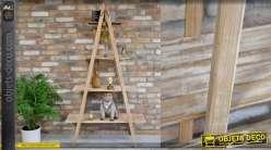 Bibliothèque type échelle en bois, 4 niveaux de rangement 173cm