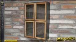 Vitrine en métal noir de style industriel avec porte vitrée encadrée bois naturel