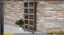 Meuble vitrine en métal avec carreaux aux encadrements bois, de style indus 164cm