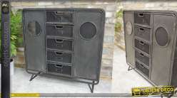 Meuble de rangement style industriel en métal noir finition ancienne, 2 portes et 5 tiroirs
