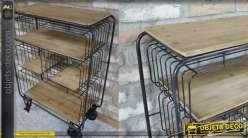 Meuble d'appoint en métal et bois type desserte, de style industriel 98cm