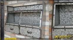 Stockage mural en métal type zinc vieilli avec tiroirs et casier central style atelier