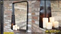 Miroir mural de style industriel, encadrement en métal forme rectangulaire 80cm