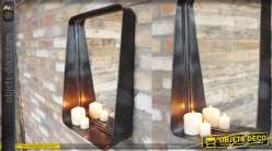 Miroir en métal inspirations industrielles, finition noir, rectanglulaire de 50cm de haut